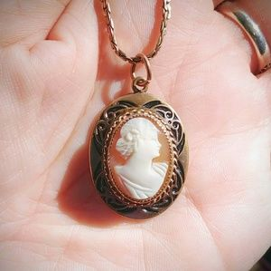 Antique Shell Cameo Pendant on 12KT GF Chain